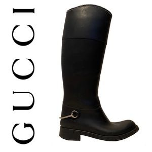 GUCCI riding rain boots with silver horse-bit